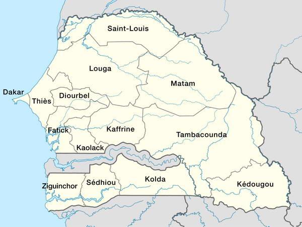 Les 14 régions du Sénégal