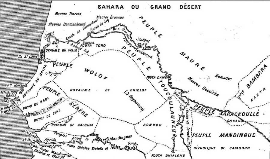 """""""Carte des peuplades du Sénégal"""" d'après l'abbé Boilat (1853)"""