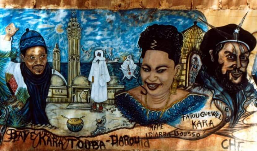 Fresque murale de Papisto Boy sur un mur du quartier de Bel-Air à Dakar