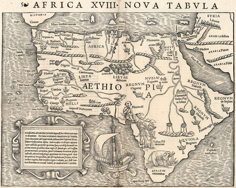 Sebastian Munster & Claudius Ptolelmy 1540 Africa XVIII Nova Tabula